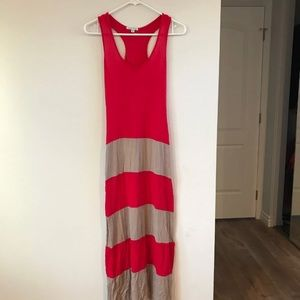 Red and Taupe Dress